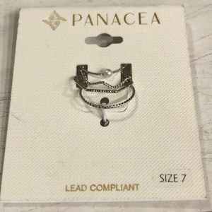 PANACEA (4) Silver Stackable Rings Sz 7 NEW